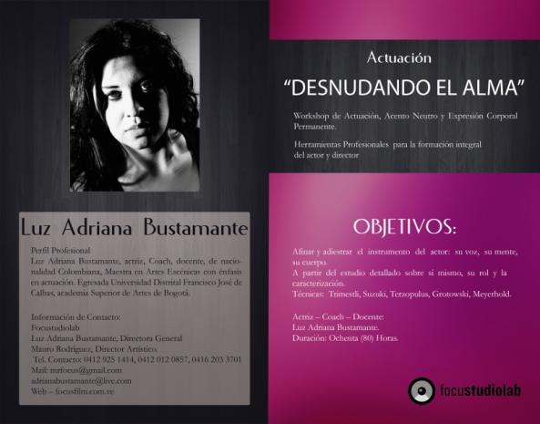 WORKSHOP DE ACTUACIÓN Desnudando el Alma con Adriana Bustamante y Mauro Rodríguez