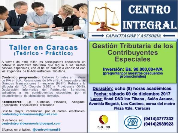 Material publicitario Taller Gestión Tributaria de los Contribuyentes Especiales Centro Integral
