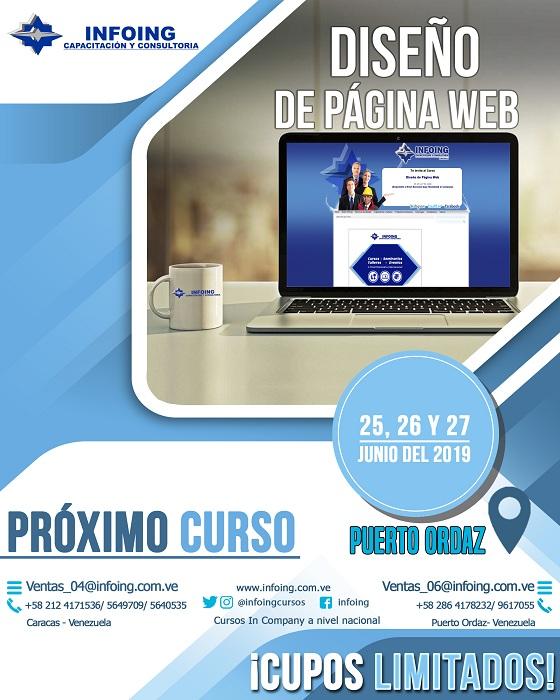 Curso Diseño De Páginas Web 25 Al 27 De Junio 2019 Puerto Ordaz Venezuela Expodato Calendario De Eventos